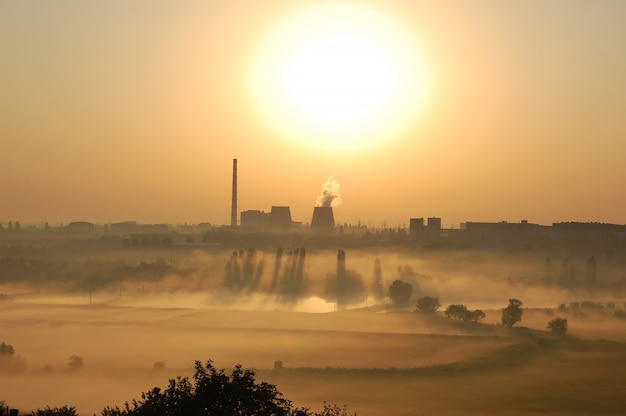 아침에 안개와 그림자가 있는 호수 근처 새벽에 굴뚝이 있는 공장