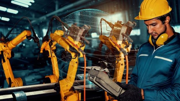 공장 노동자 제어 로봇 팔 공장