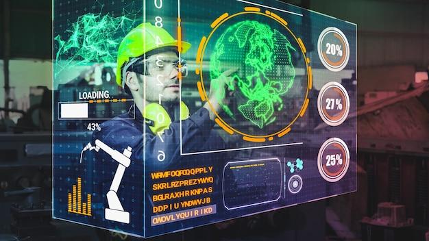 Заводской рабочий использует будущее устройство с голографическим экраном для управления производством