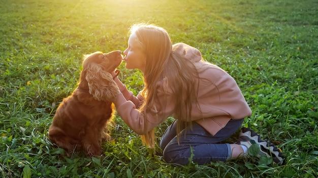 パーカーとジーンズの金髪の女子高生は、明るい秋の日光の後ろで緑の牧草地の草の上に座っている毛皮のようなスパニエルにキスします