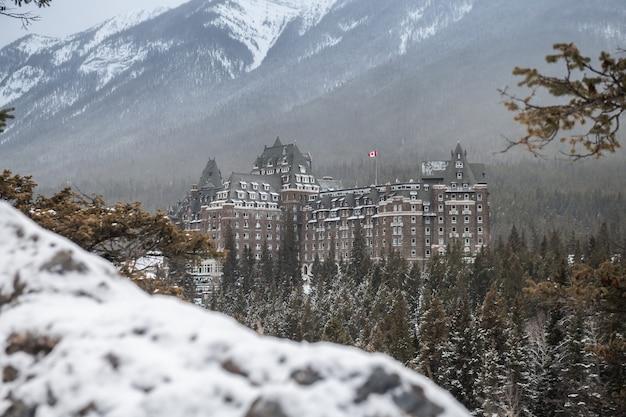 Fairmont banff springs hotel in the winter, banff national park, alberta, canada
