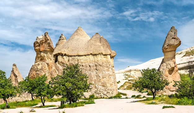 Fairy chimney rock formations at goreme national park in cappadocia, turkey