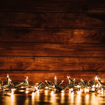 Fairy lights on blurred background