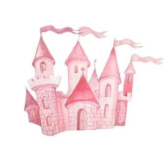 Сказочный замок принцессы рисованной акварельные иллюстрации набор печати текстильный фон клипарт для маленьких девочек на праздник поздравление облака розовый цвет милая картинка