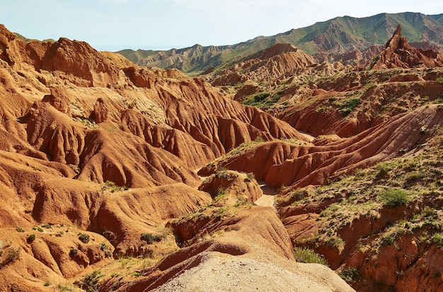 Fairy tale canyon, rock formations on the issyk-kul lake. kyrgyzstan.central asia