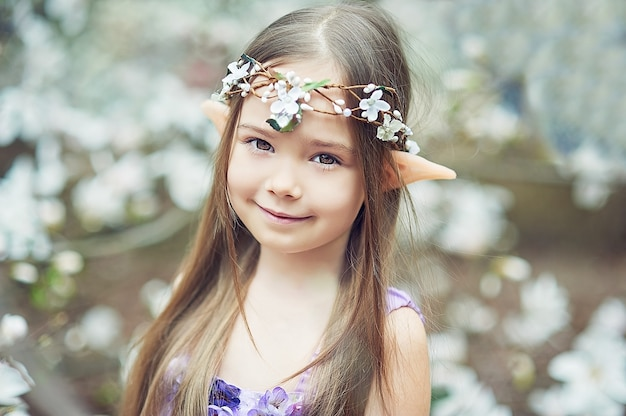 Fairy tale girl. portrait of mystic elf child. cosplay character.