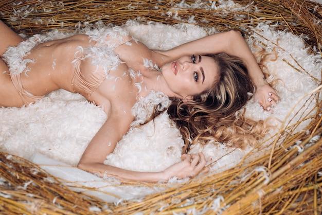 동화 그림-거대한 둥지에 세련된 레이스 란제리에 완벽한 몸매를 가진 아름다운 섹시한 젊은 모델 소녀. 플래시 유혹, 열정. 완벽한 메이크업