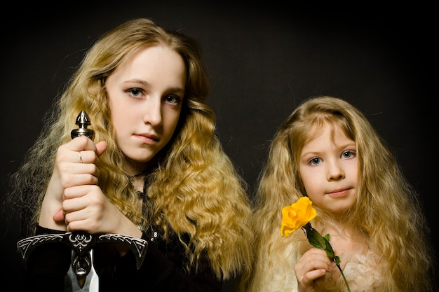 Сказка - принцесса и воин, лицо крупным планом