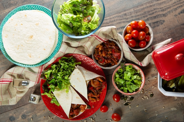 Fajitas with chicken , mexican cuisine, tex-mex cuisine
