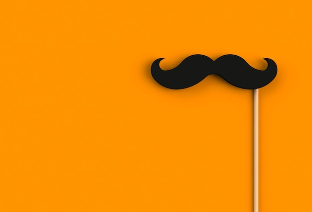 Fake black mustache on orange background, 3d rendering