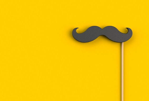 Fake black mustache on yellow background, 3d rendering