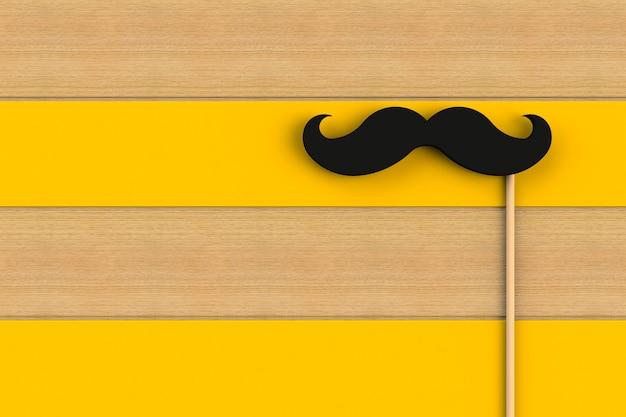 Fake black mustache on yellow wooden board, 3d rendering