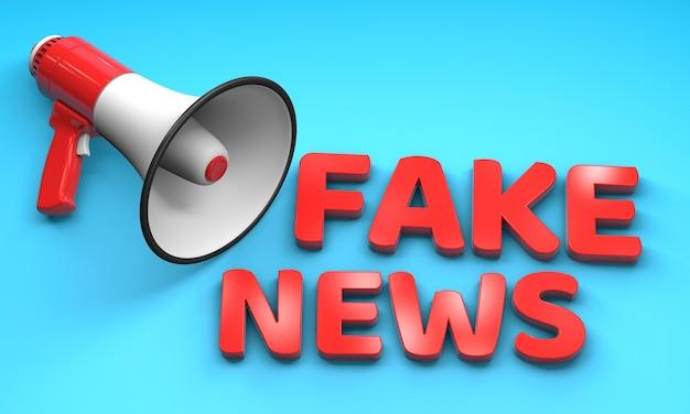 Fake news. red megaphone loudspeaker and red letters on a blue background. 3d render.