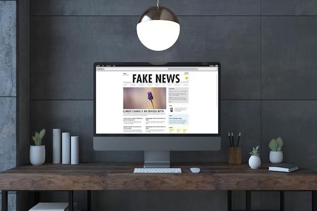 デスクトップの3dレンダリング上の偽のニュース画面コンピュータ