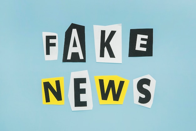 Fake news words in various letter font style