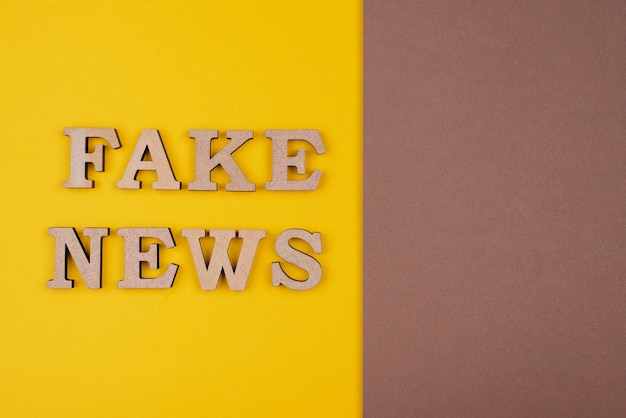 Fake or real news concept above view