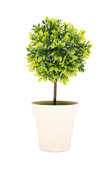 Faketree decoration in a pot isolated in white background.