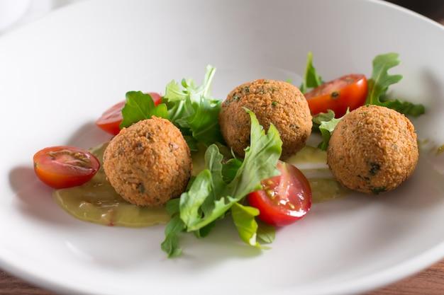 Falafel, chickpea balls with vegetables