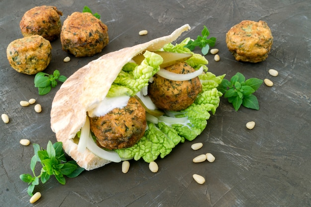 Falafel. the meatballs from chickpea in pita.