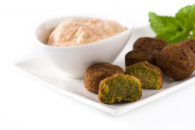 Falafel on a plate isolated on white