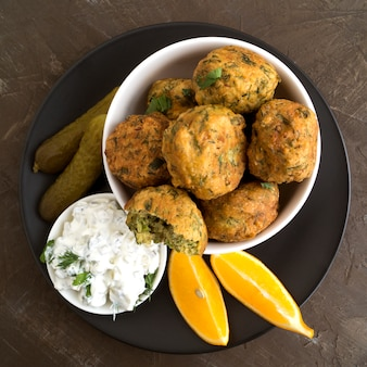 Falafel, a traditional israeli dish of chickpea.