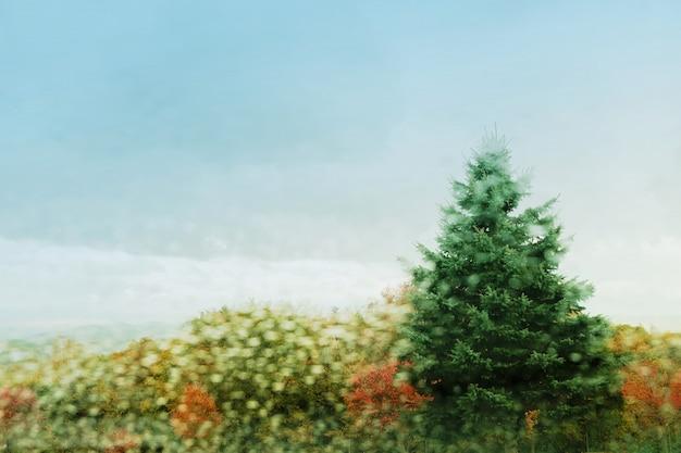 秋、秋、冬シーズンコンセプト。公園での雪の日のぼやけ、ガラス窓からの眺め