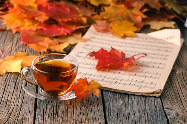 Fall background with maple leaves on wood table