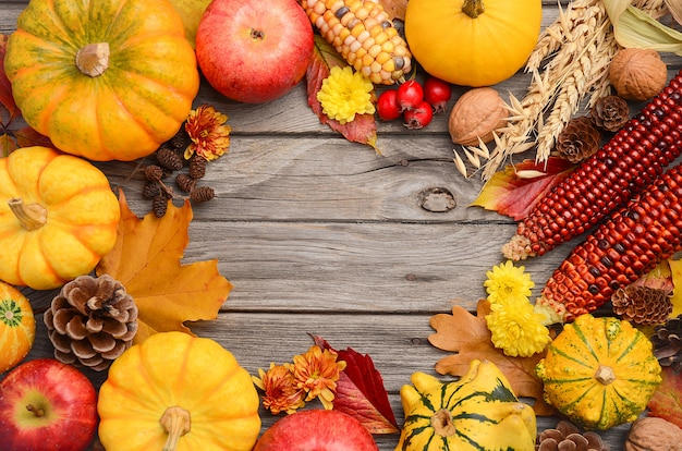 Fall background with pumpkins, top view, copy space.