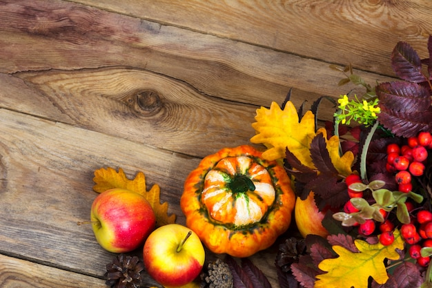 Fall background with ripe apples, decorative pumpkin,