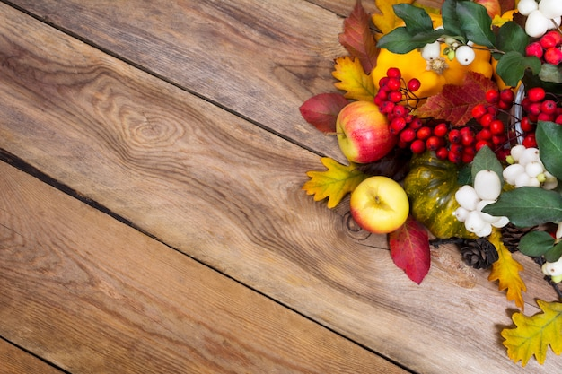 Fall background with snowberry, rowan, apples, leaves and squash,