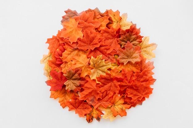 Осенняя композиция, выложенная вокруг листьев