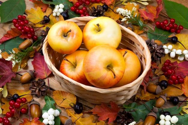 籐のバスケットにリンゴと秋のコンセプト
