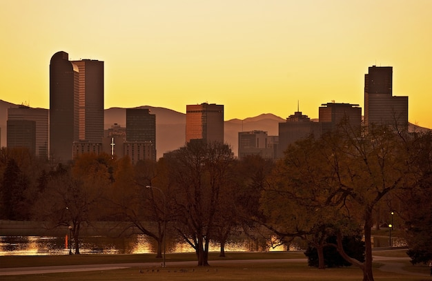 Fall denver sunset