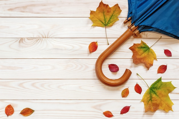 Осенняя квартира лежала с листьями и зонтиком на деревянном фоне