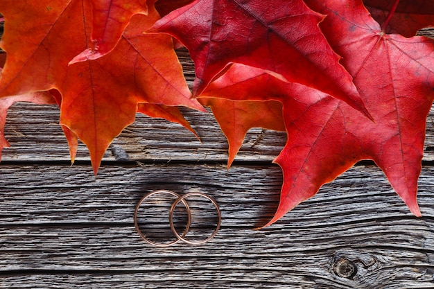Fall on leaves on weathered table with wedding rings