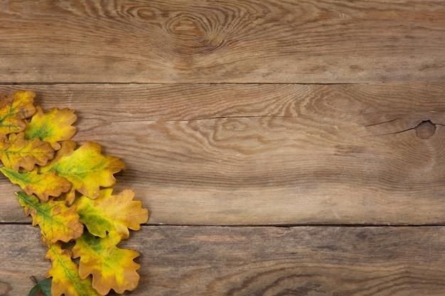オークの葉と素朴な背景を秋、コピースペース