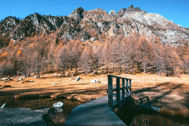 Fall season in mountain - alpe devero piedmont italy