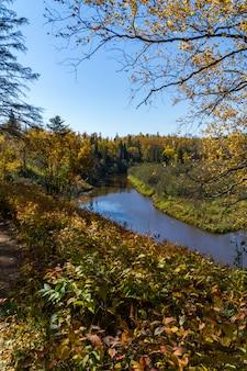 Осенний вид вниз по реке миннесота