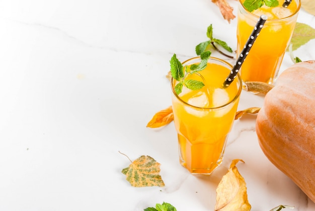 Fall and winter cold cocktails. spicy pumpkin mojito with fresh mint