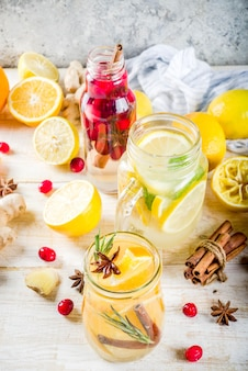 Fall and winter refreshing infused water jars