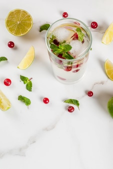 Fall and winter refreshment drink cranberry mojito cocktail with lime and mint on white table