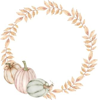 カボチャと秋の花輪。
