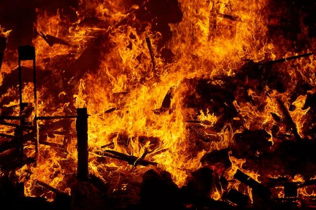 Fallas fire burning in valencia fest