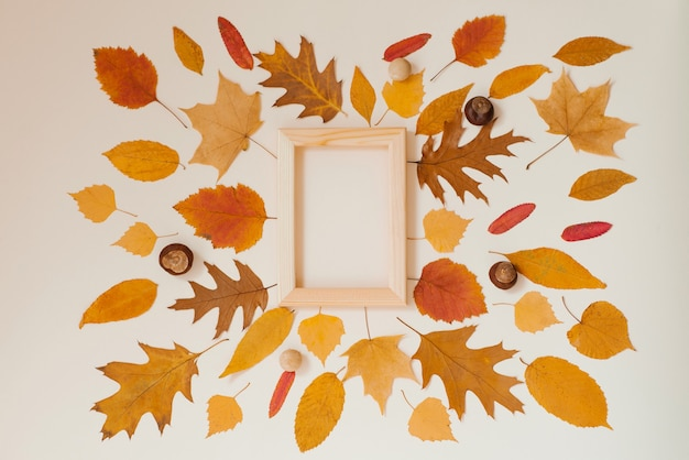 Fallen autumn leaves arranged next to each other around a wooden frame on a beige background