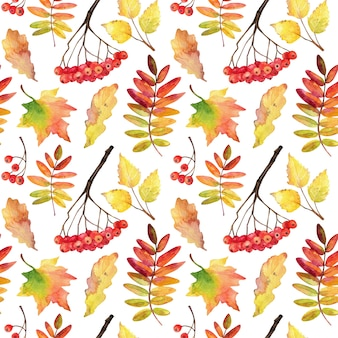Fallen autumn leaves seamless pattern.