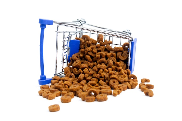Fallen shopping cart with food for animals, dogs, cats. isolate