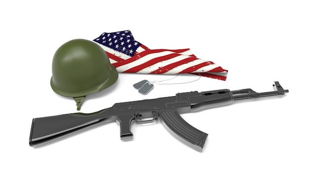 Fallen soldier tribute, helmet, gun, boots,dog tag and flag
