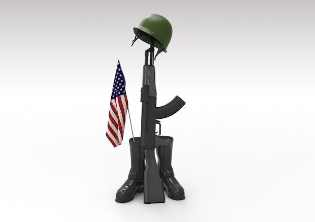 Fallen soldier tribute, helmet, gun, boots and flag
