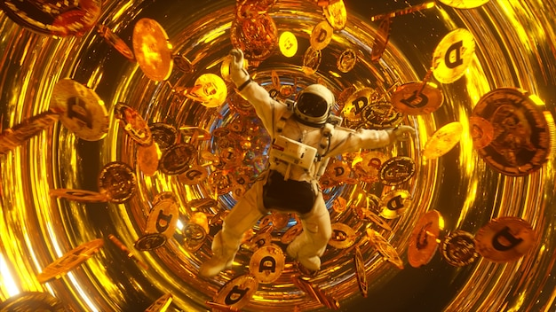 飛んでいるドージコインに囲まれた宇宙空間に落下する宇宙飛行士。宇宙における暗号通貨の概念。ブラックホール。星間。 3dイラスト