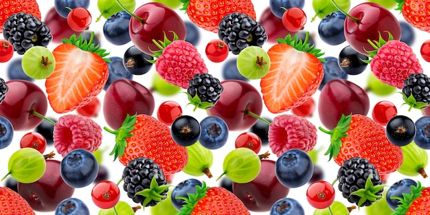 Falling berries seamless pattern isolated on white